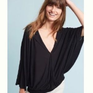 Anthropologie Collared Black Top